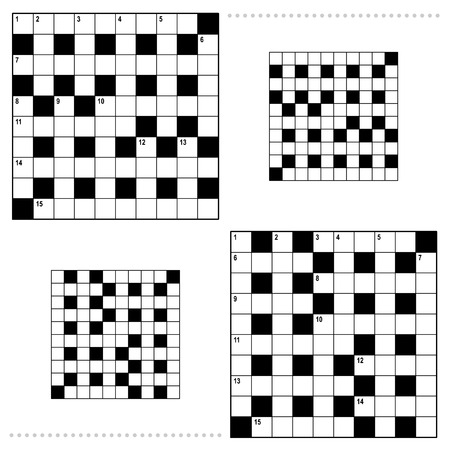 Real size crossword puzzle grids 10x10 squares with corresponding answer grids