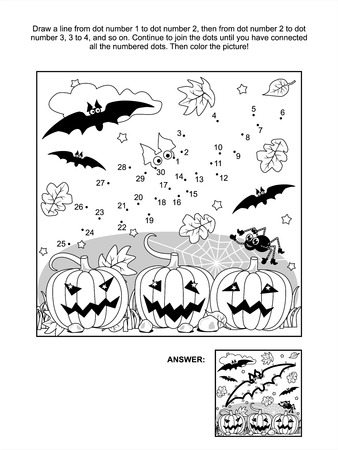 printable coloring pages: Connect the dots picture puzzle and coloring page - Halloween scene with bats, pumpkins, spider and spiderweb  Answer included