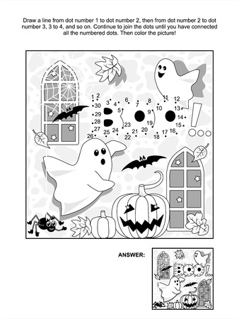 Halloween themed connect the dots picture puzzle and coloring page with little playful ghosts, bats, pumpkins, etc  Answer included