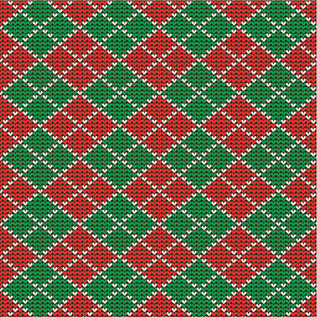 knitted red and green christmas argyle background plus seamless pattern included in swatch palette pattern