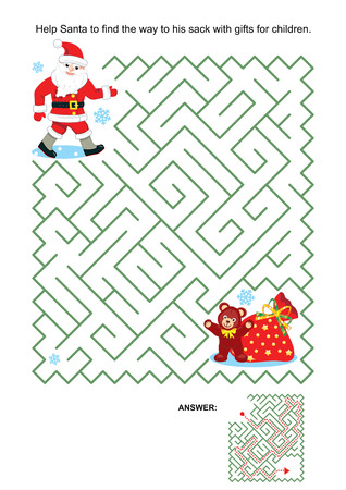 Maze game or activity page for kids  Help Santa to find the way to his sack with gifts for children  Answer included  Vector