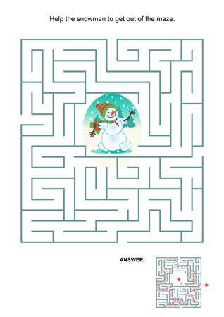含まれている迷路から抜け出すヘルプ雪だるまの子供のための迷路ゲームやアクティビティ ページの答え