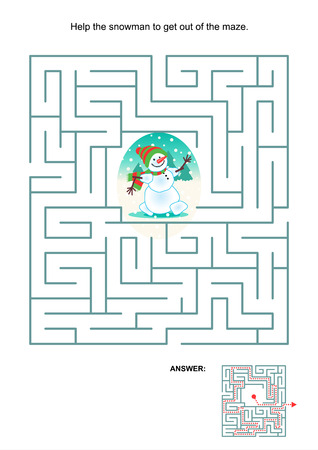 Maze game or activity page for kids  Help the snowman to get out of the maze  Answer included  Vector