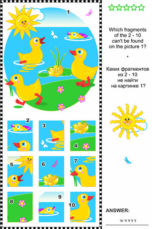 spot the difference: Cute little ducklings visual logic puzzle  What of the 2 - 10 are not the fragments of the picture 1  Plus same task text in Russian  Answer included  Illustration
