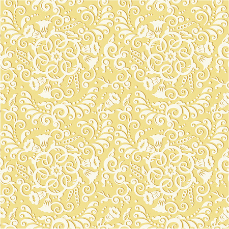 tilable: Easy tilable  you see 4 tiles  decorative floral pattern background  or seamless wallpaper, repeatable swatch, print  with embossed effect Illustration