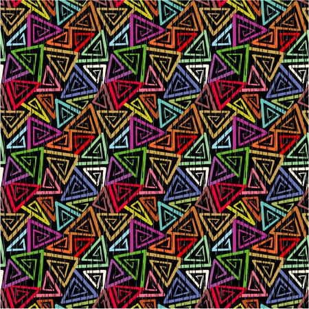 tilable: Facile Tilable vedete 9 piastrelle grunge astratto geometrico senza soluzione di continuit� motivo di sfondo, carta da parati, stampa, swatch colorato angolare turbinii su sfondo nero