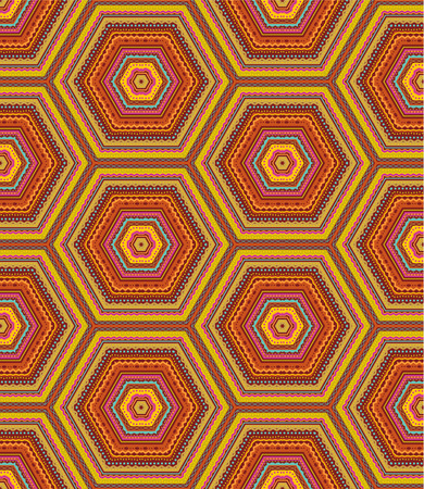 Seamless  easy to repeat  kashmir  cashmere , paisley or country geometric hexagonal pattern  background, wallpaper, print, swatch  of autumn colors Vector