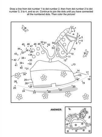 Connect the dots picture puzzle and coloring page - rocking horse  Answer included  Vector