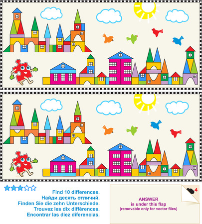 Find the ten differences between the two pictures - toy town visual puzzle  Answer included  Vector