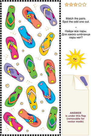 Colorful flip-flops visual logic puzzle Vector