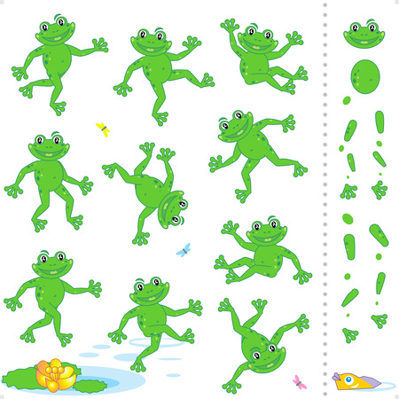 frog cartoon: Frogs or toads cartoon characters construction kit - easy to pose as needed Illustration