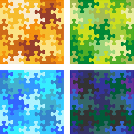 Seamless jigsaw puzzle patterns with whimsically shaped pieces - camouflage, water, night sky