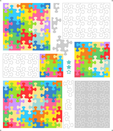 guidelines: Jigsaw puzzle blank templates  cutting guidelines  and colorful patterns with whimsically shaped pieces Illustration