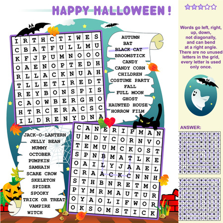 answer: Halloween themed illustrated word search puzzle  Answer included