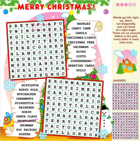 クリスマスや新年の休日をテーマにした単語検索パズルの答えを示す