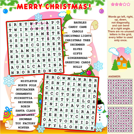 Christmas or New Year holiday themed illustrated word search puzzle  Answer included  Иллюстрация