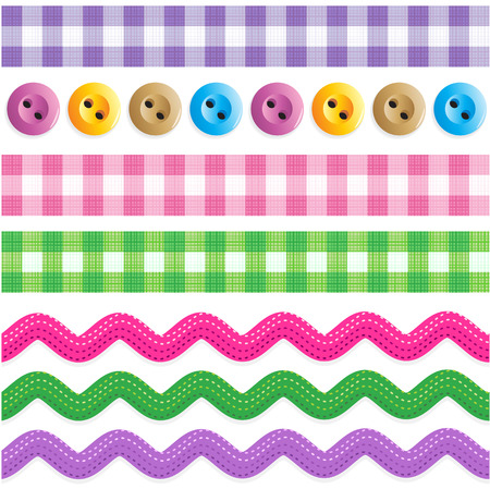 Seamless  repeatable  borders - gingham ribbons, ric rac tapes, sewing buttons  Иллюстрация