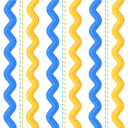 Seamless  repeatable  ric rac ribbons and sewing stitches pattern, background or wallpaper Vector