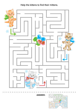 Help the kittens to find their mittens  maze for kids, answer included  Vector