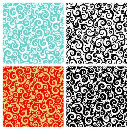 scrollwork: Seamless  repeatable  decorative floral scrolls patterns