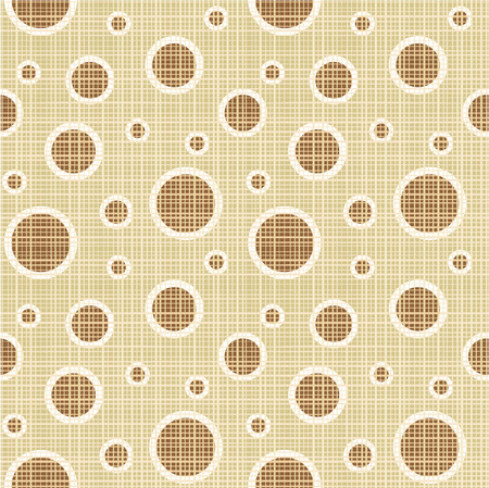 Seamless  easy to repeat - you see 4 tiles   tan and brown circles and dots pattern canvas background  wallpaper, swatch  Illustration