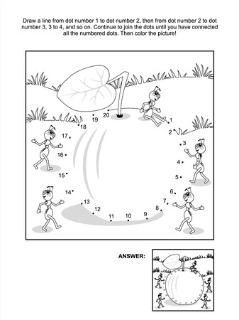coloring sheet: Connect the dots picture puzzle and coloring page - apple and ants