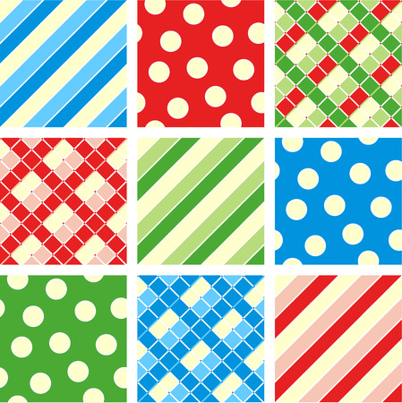 Seamless patterns prints - polka-dot, plaid, stripes  Vector