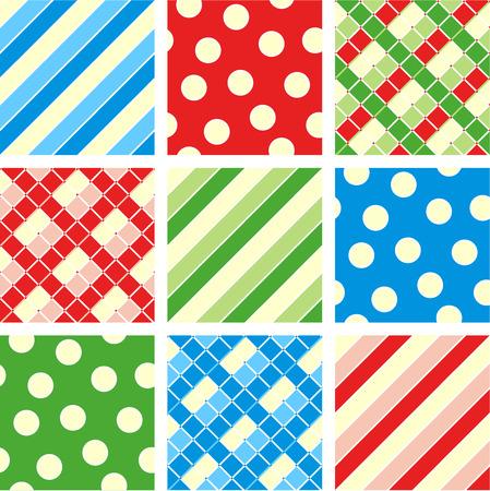 christmas plaid: Seamless patterns prints - polka-dot, plaid, stripes