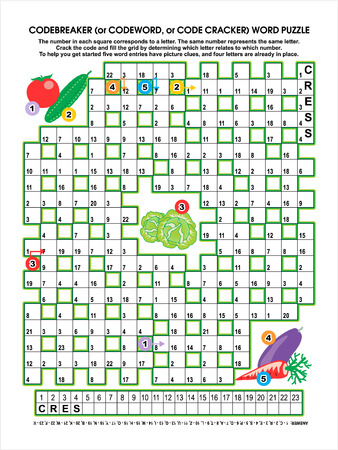 clues: Codebreaker  or codeword, or code cracker  word puzzle, vegetable garden themed, answer included