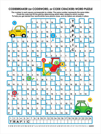 brain game: Codebreaker  or codeword, or code cracker  word puzzle, transportation themed, answer included