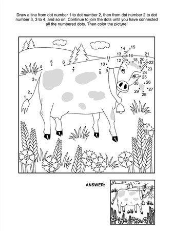 coloring sheets: Connect the dots picture puzzle and coloring page - milk cow and cornflowers  Answer included  Illustration