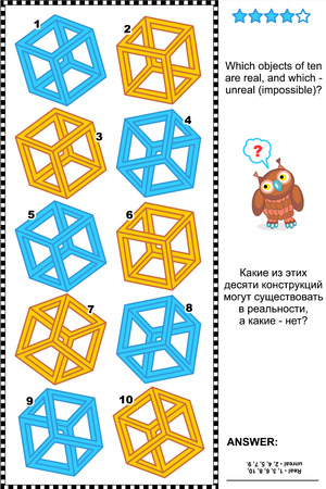 Visual puzzle  Which objects of ten are real, and which - unreal  impossible   Plus same task text in Russian  Answer included
