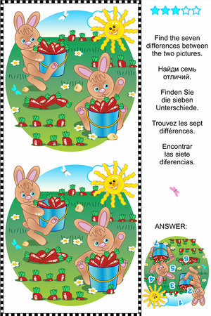 spot the difference: Picture puzzle  Find the seven differences between the two pictures of bunnies and carrots  plus same task text in Russian, German, French and Spanish   Answer included  Illustration