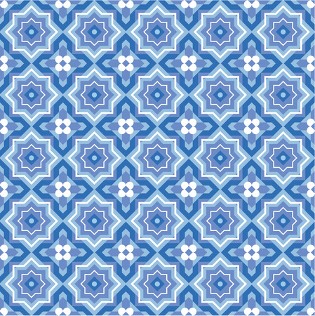 Seamless  repeatable  blue colors abstract geometric pattern, swatch, background, wallpaper