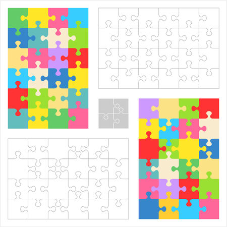 guidelines: Jigsaw puzzles 4x6 and 6x4 blank templates  cutting guidelines  and colorful patterns of trendy colors  Overlay your image to get custom jigsaw puzzle