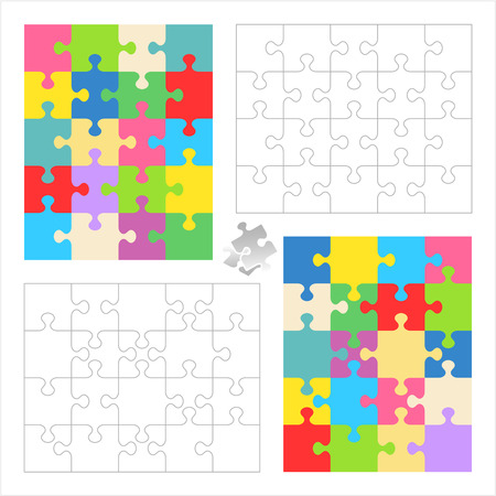 guidelines: Jigsaw puzzles 4x5 and 5x4 blank templates  cutting guidelines  and colorful patterns of trendy colors  Overlay your image to get custom jigsaw puzzle
