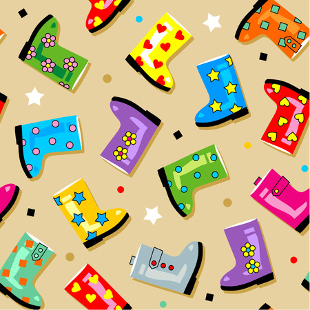 Easy tilable colorful gumboots seamless repeat pattern  print, background, wallpaper, swatch  Vector