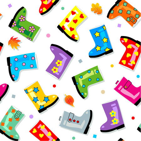 gumboots: Easy tilable colorful gumboots seamless repeat pattern  print, background, wallpaper, swatch  Illustration