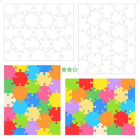 educational problem solving: Hexagonal jigsaw puzzle blank templates  or cutting guidelines  and colorful patterns for conceptual, educational and gaming projects