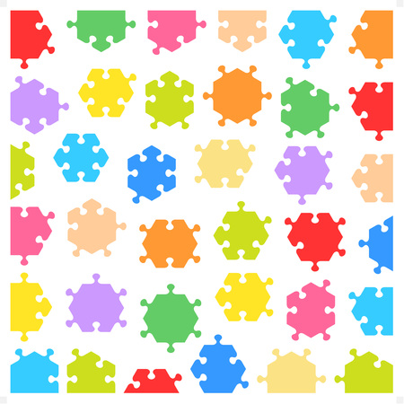 jigsaw puzzle pieces: Hexagonal jigsaw puzzle pieces of various shapes and colors, isolated and fitting each other Illustration
