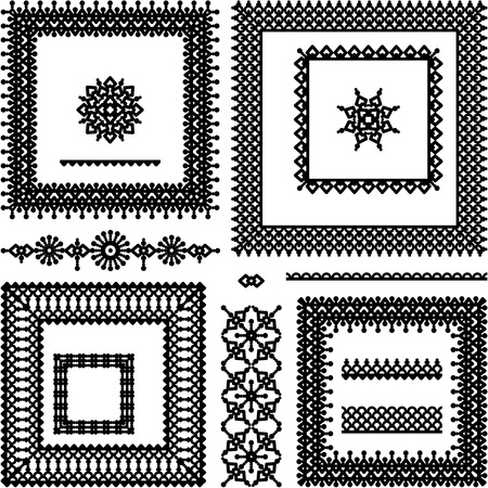 Lace or filigree design elements collection  full frames, seamless borders, vignettes on transparent   or white for raster mode  background Stock Vector - 27344770