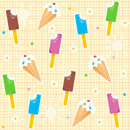 frozen dessert: Seamless  repeatable  ice cream pattern with waffle cones and bars of various flavors