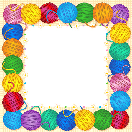Full square frame made of colorful yarn balls for cards, banners, invitations, labels, etc