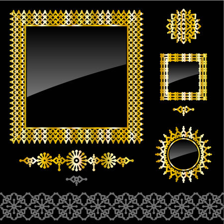 Collection of design elements  full gold frames, seamless border, vignette, dividers Stock Vector - 27360933
