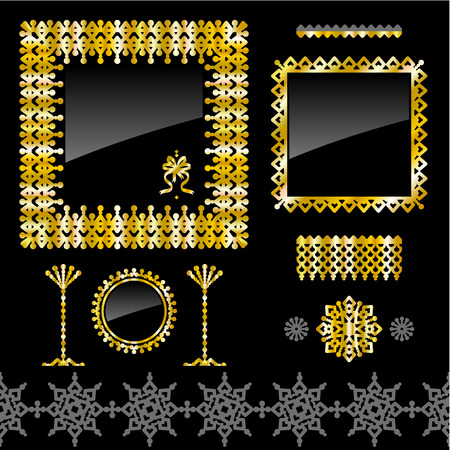 Collection of design elements  full gold frames, seamless border, vignette, dividers Vector