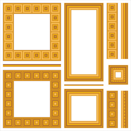 Collection of full wood frames and seamless borders with various mouldings Stock Vector - 27344666