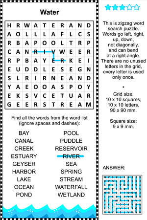 word game: Water themed zigzag word search puzzle  suitable both for kids and adults   Answer included  Illustration