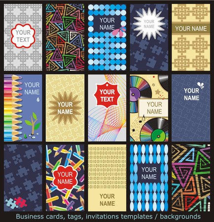 Business cards, tags, labels, invitations, etc  templates set of 15 with various patterns and concepts, vertical