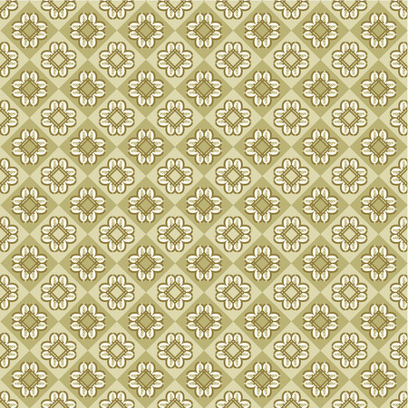 Decorative paisley checks background or wallpaper, plus seamless pattern included in swatch palette Illustration