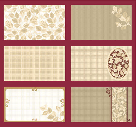 Business cards templates set of six with rose floral patterns and fabric texture, horizontal, tan, brown, gold